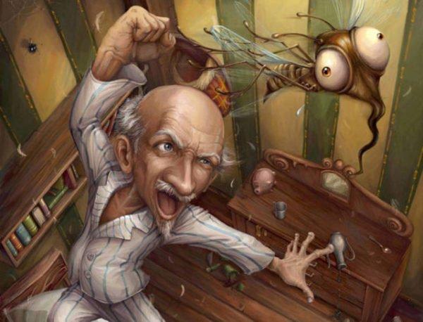 дедушка и муха