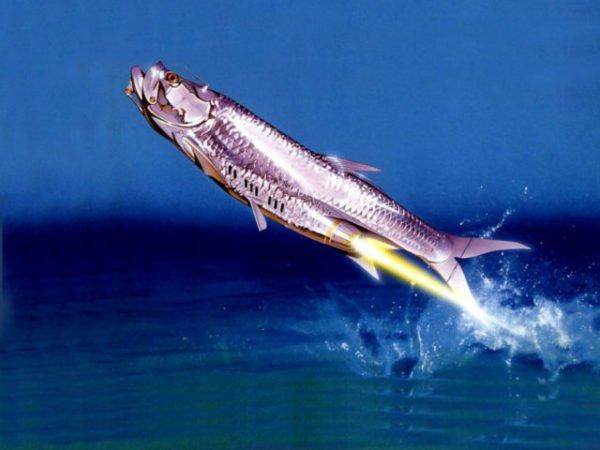 рыба летает над водой